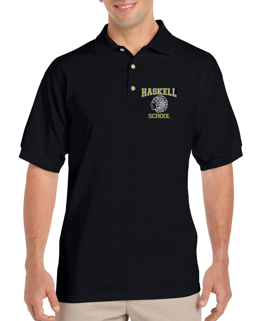 HASKELL School Black Short Sleeve Polo Sport Shirt w/ HASKELL School Indian Logo on Front Left.