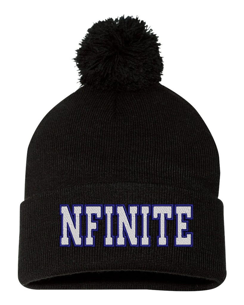 "NFINITE Sportsman - Black Pom-Pom 12"" Knit Beanie - SP15 w/ NFINITE logo on Front."