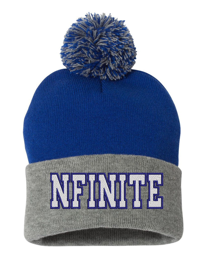"NFINITE Sportsman - Gray & Royal Pom-Pom 12"" Knit Beanie - SP15 w/ NFINITE logo on Front."