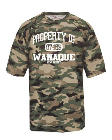 "WANAQUE Stripe Jersey Short Sleeve Tee w/ WANAQUE School ""W"" Logo 2 color on Front."