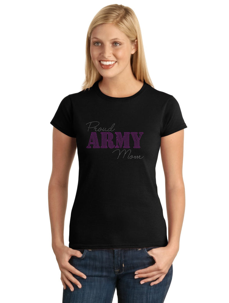 Proud Army Mom V1 Spangle Bling Design