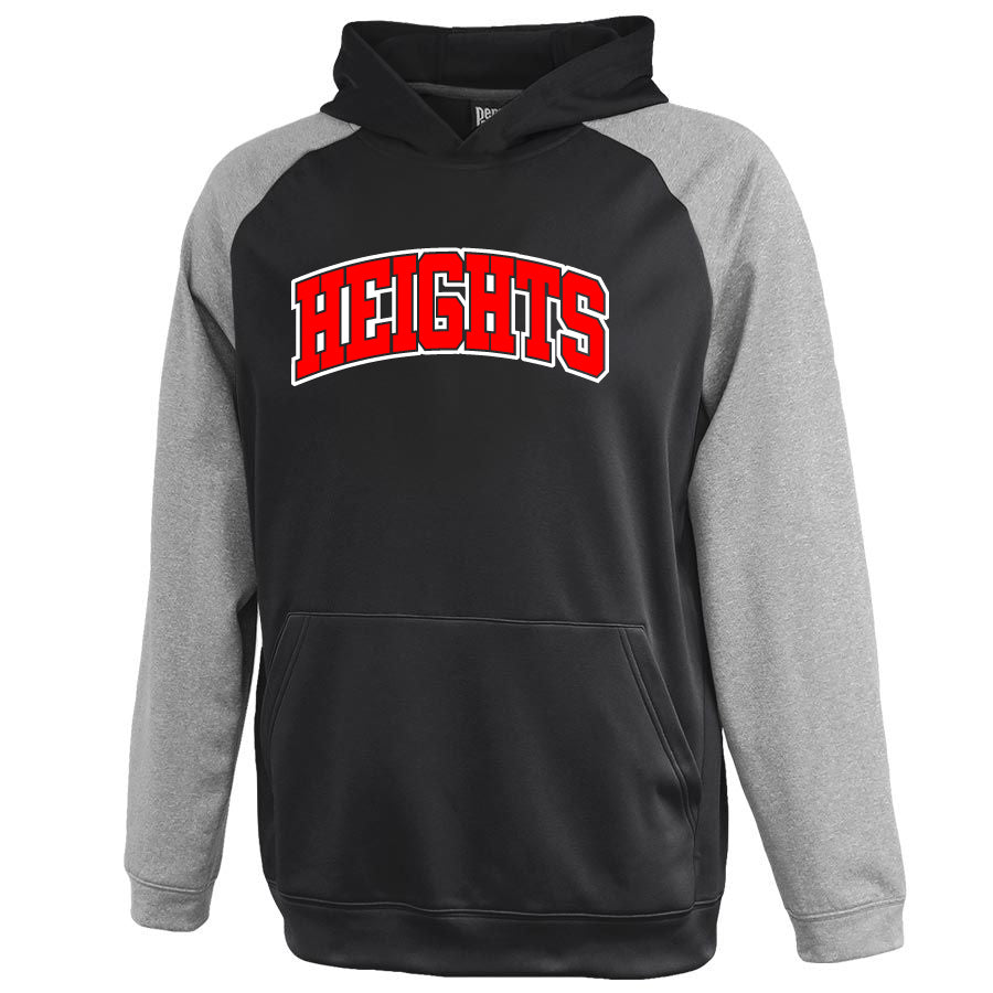 Oakland Heights Gray/Black Interceptor Hoodie w/ Heights Arc Design on Front.
