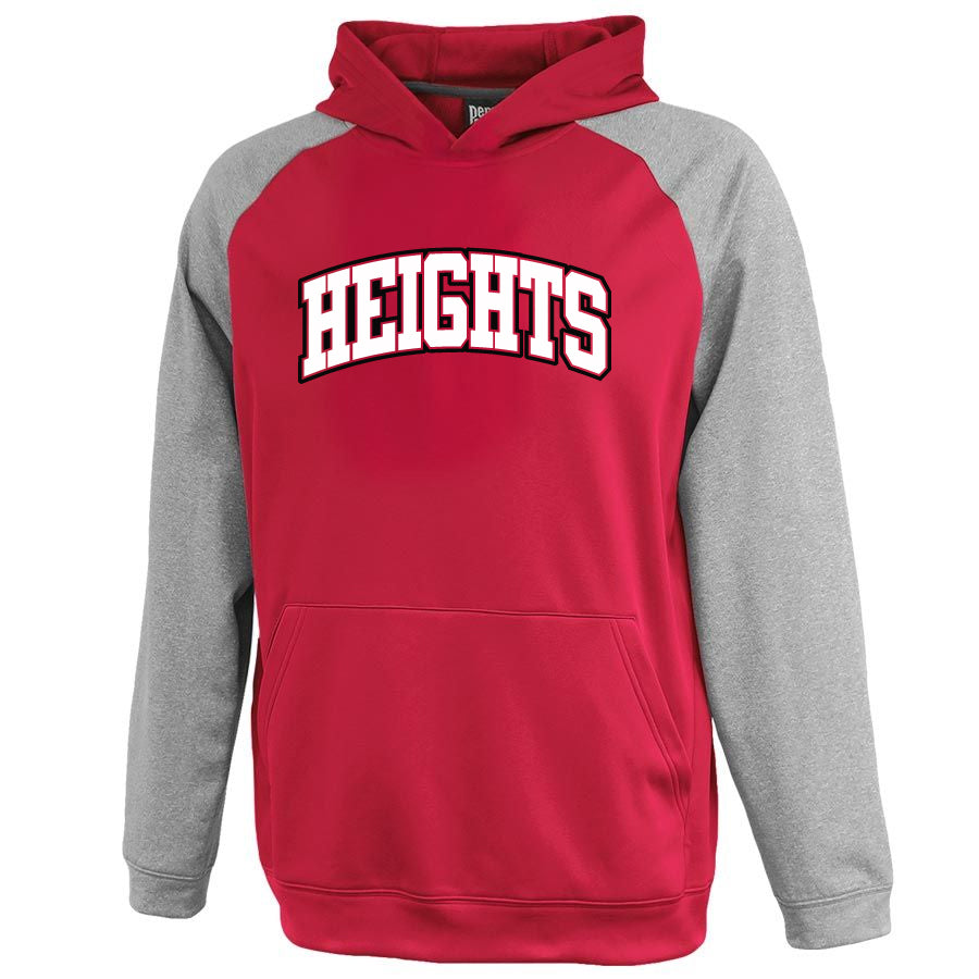 Heights Gray/Red Interceptor Hoodie w/ Heights Arc Design on Front.
