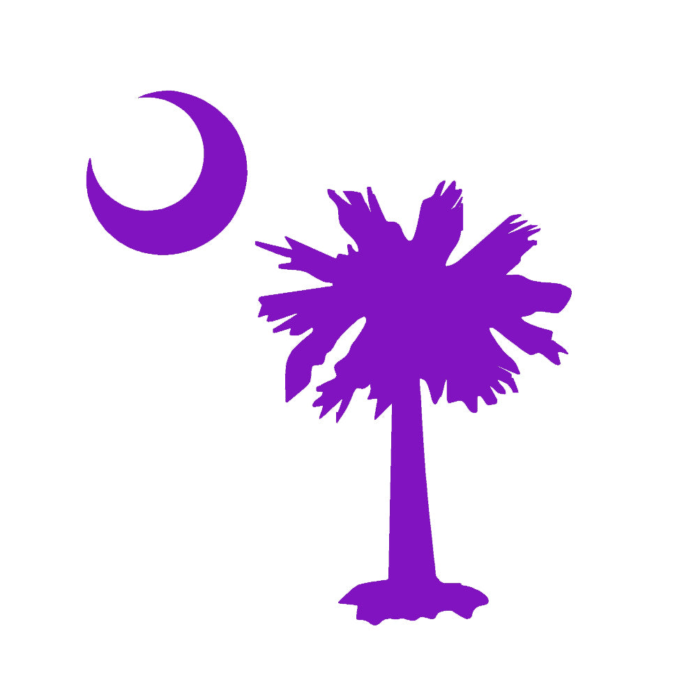 Palmetto Tree Moon SC Flag V1 Single Color Transfer Type Decal