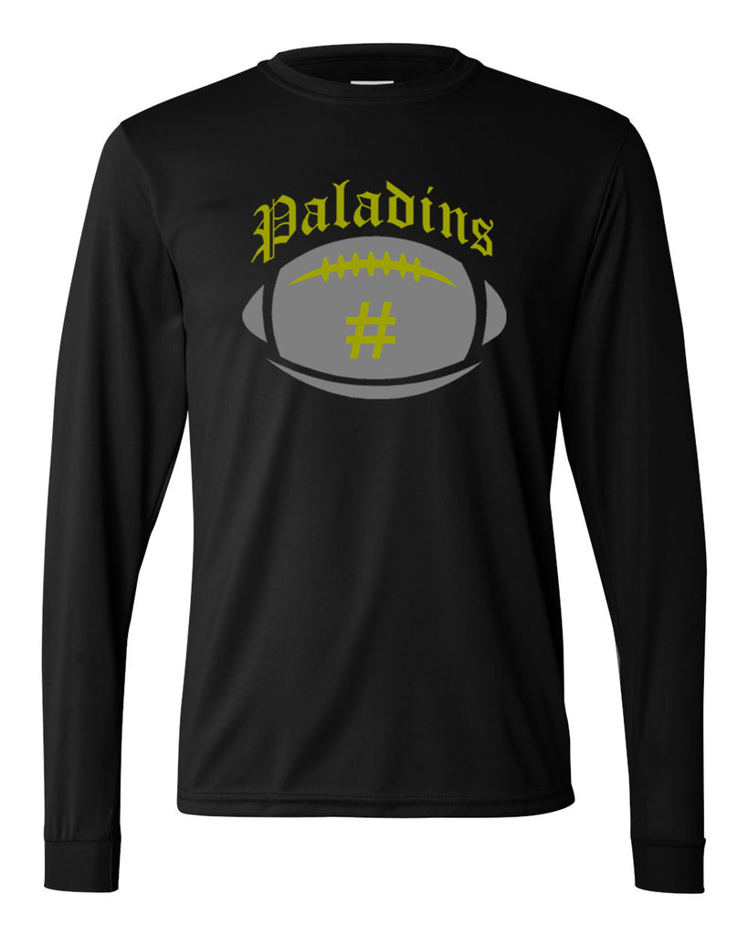 Paramus Catholic Black Performance Long Sleeve Tee w/ Large Front 2 Color Design