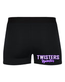 Twisters Gymnastics Black Pro-Compression Shorts - 2629 w/ Purple & White Print Logo on Front Left Leg.