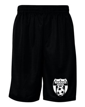 Wanaque Soccer Pro Mesh Black Training Shorts with Wanaque Soccer Logo on Front of Left Leg