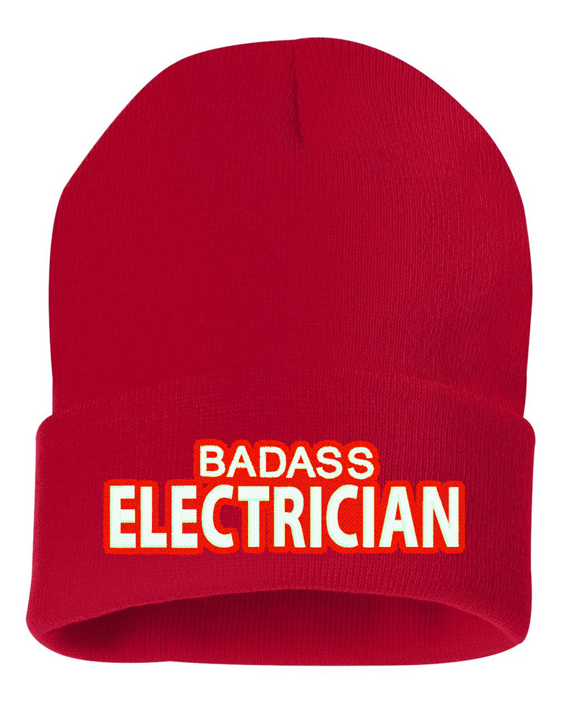 Badass Electrician Embroidered Cuffed Beanie Hat