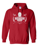 Lakeland Fencing Red Heavy Blend Hoodie w/ White Design