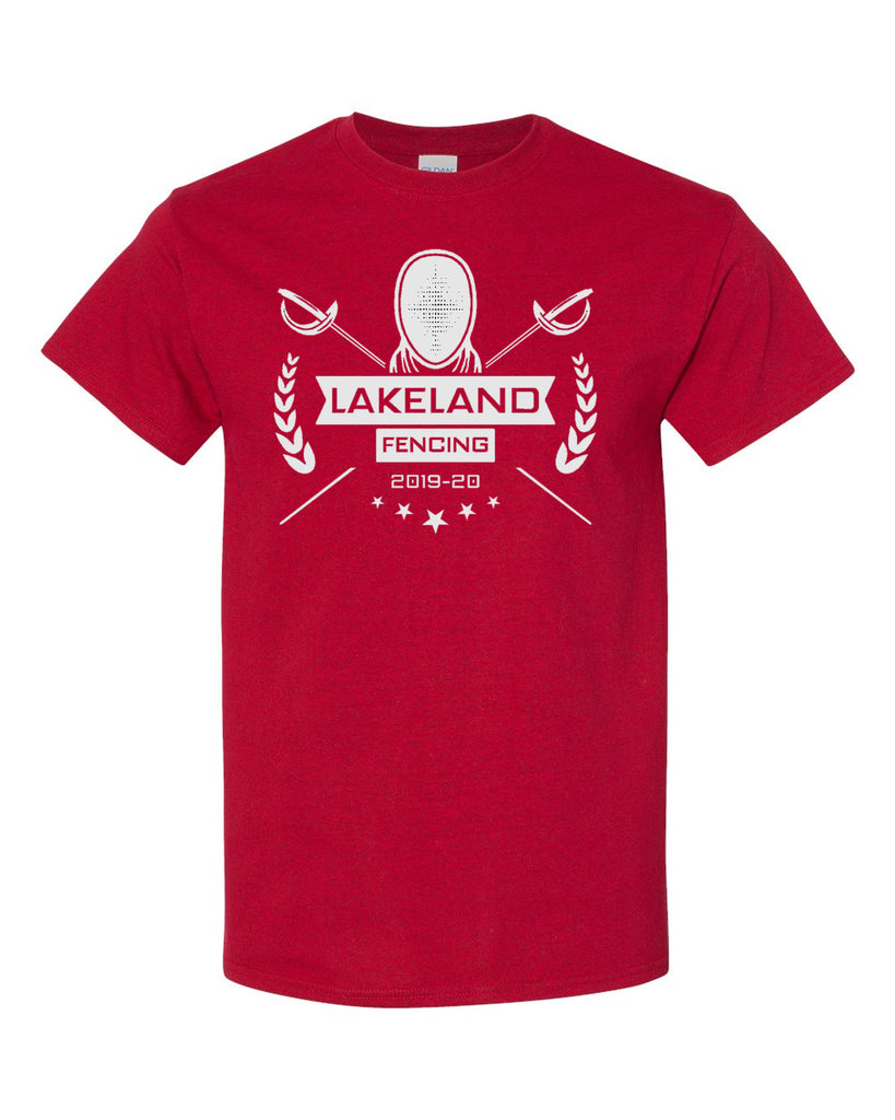 Lakeland Fencing Red 100% Cotton Tee w/ White Design