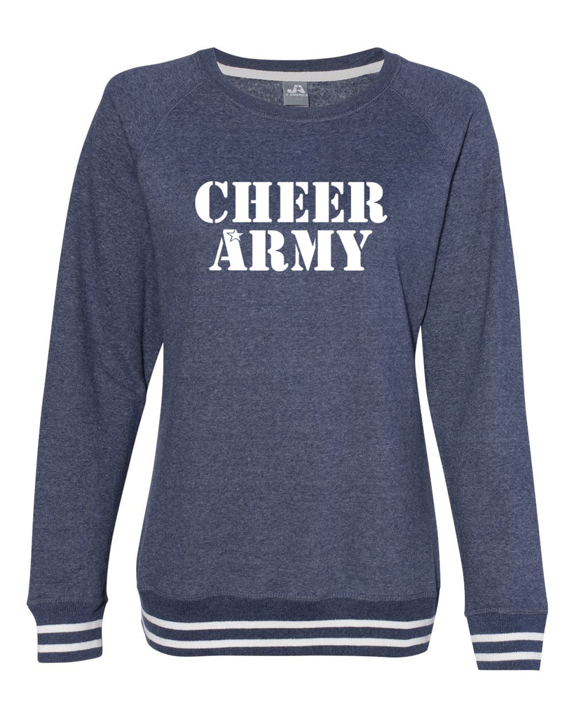 Cheer Army Women's Navy Relay Crewneck Sweatshirt - 8652 w/ White Stencil Logo on Front.