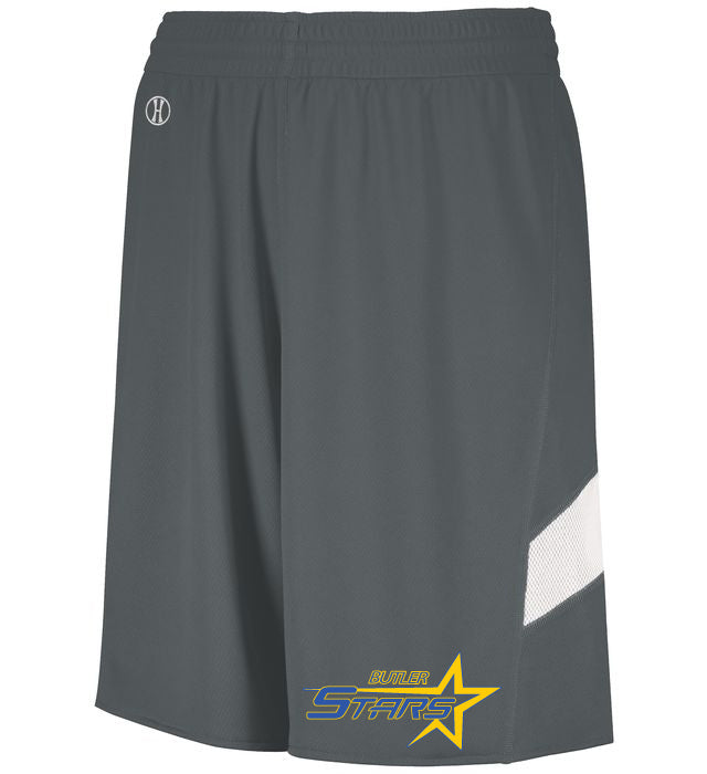 Butler Stars Graphite Dual-Side Single Ply Shorts  w/ Design on Left Leg.
