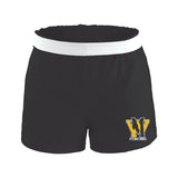 West Milford Fencing Black Authentic Low Rise Soffe Short w/ Gold & White Print WM Logo on Front Left Leg.
