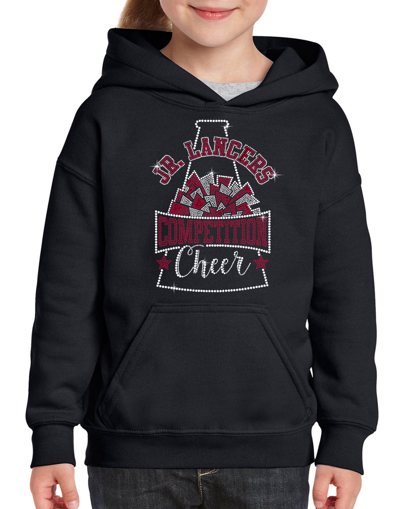 Jr Lancers Competition Cheer Heavy Cotton Black Shirt w/ SPANGLE Megaphone Design on Front.