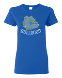 Bulldogs Royal Short Sleeve Shirt w/ Bulldogs SPANGLE Design on Front.