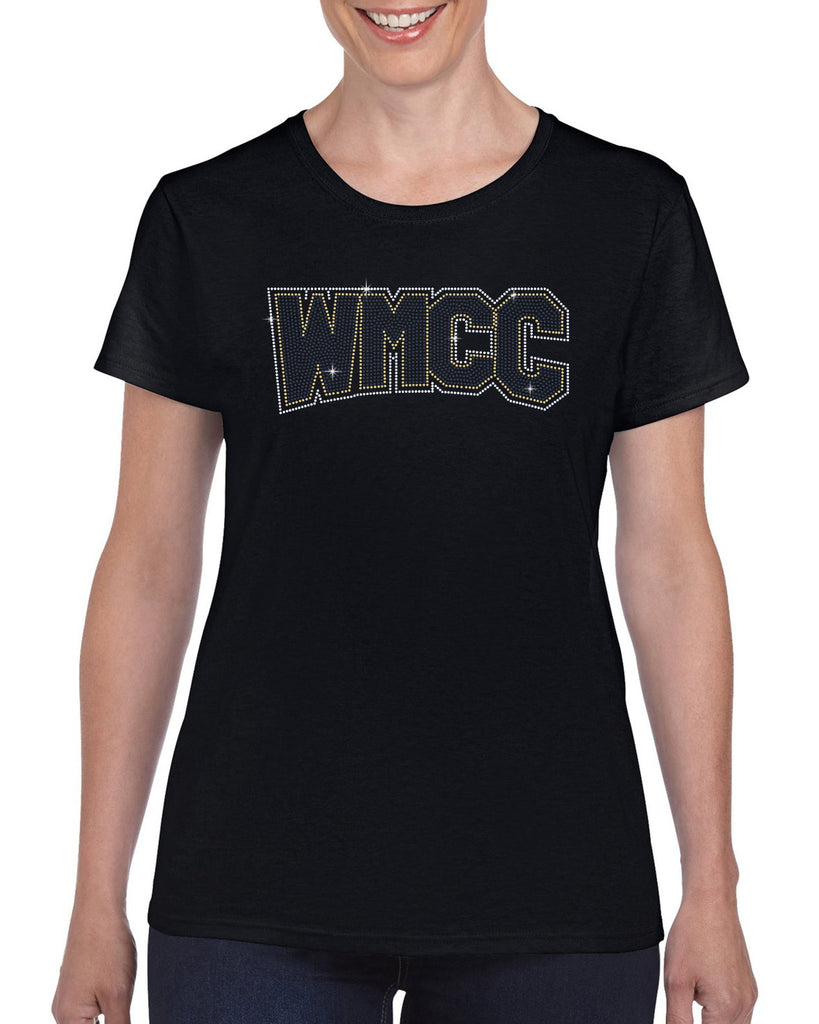 WMCC Black Short Sleeve Tee w/ WMCC Logo in 3 Color SPANGLE on Front.