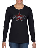 Jr Lancers Competition Cheer Heavy Cotton Black Shirt w/ SPANGLE Star Design on Front.