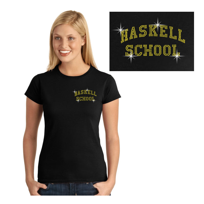 "HASKELL School Black Short Sleeve Tee w/ HASKELL School ""Text"" in Spangle on Front. STYLE #1"