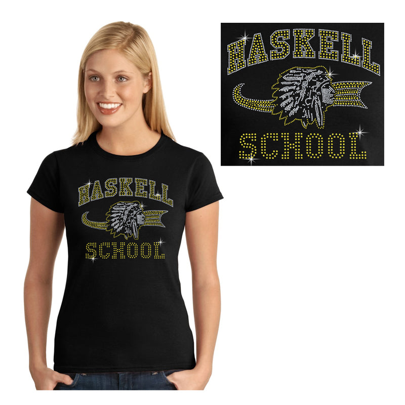 "HASKELL School Black Short Sleeve Tee w/ HASKELL School ""Old Style"" Logo in Spangle on Front. STYLE #2"