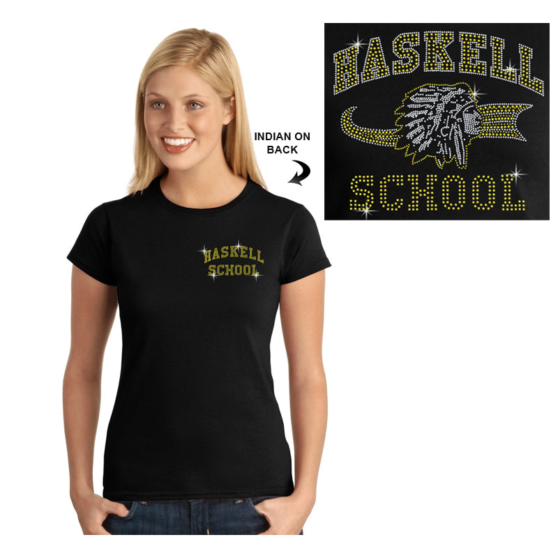 "HASKELL School Black Short Sleeve Tee w/ HASKELL School ""Text"" in Spangle on Front & ""Indian"" Logo on Back. STYLE #3"