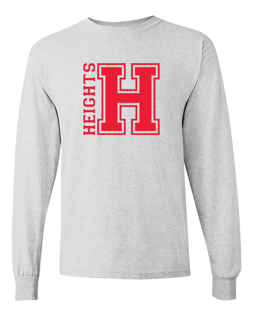 Oakland Heights School Sport Gray Long Sleeve Tee w/ Heights OG Design in Red on Front.