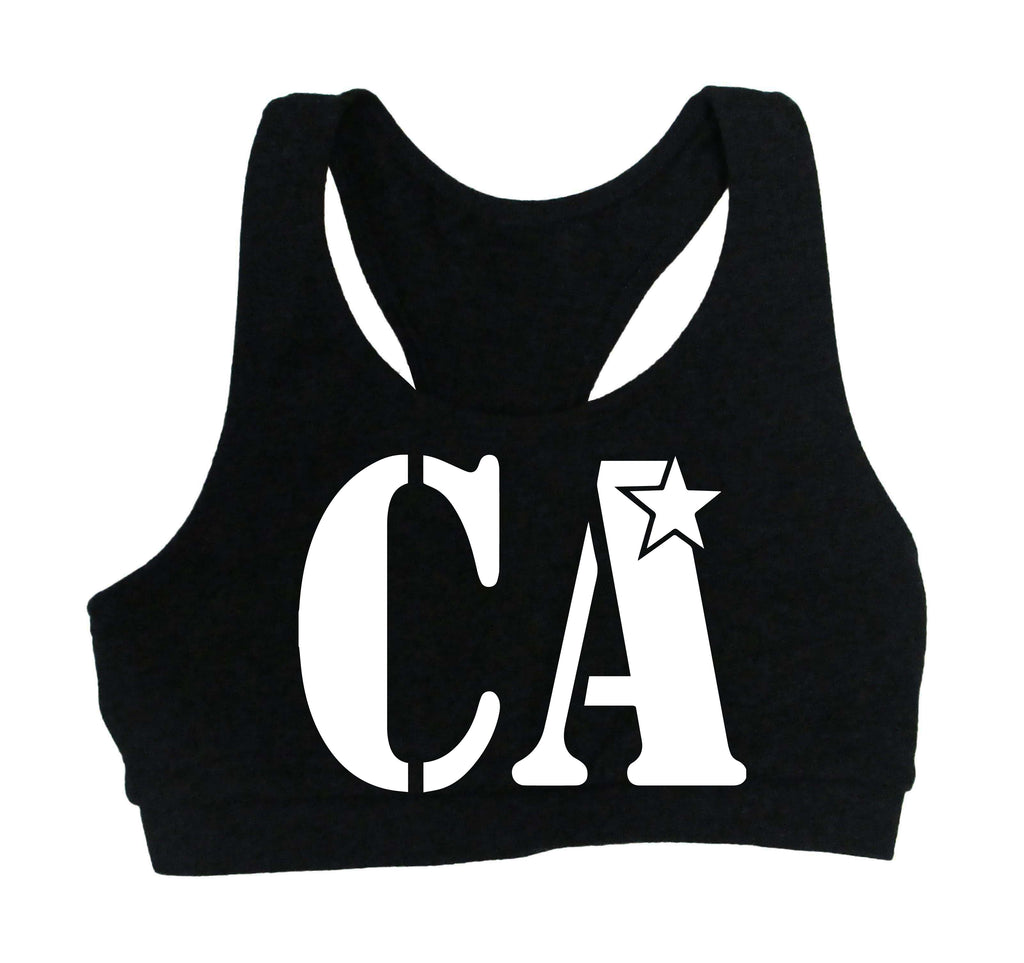 Cheer Army Black Sports Bra w/ White CA Logo on Front.