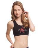 Jr Lancers Competition Cheer Black Sports Bra w/ 2 Color Spangle Logo on Front.