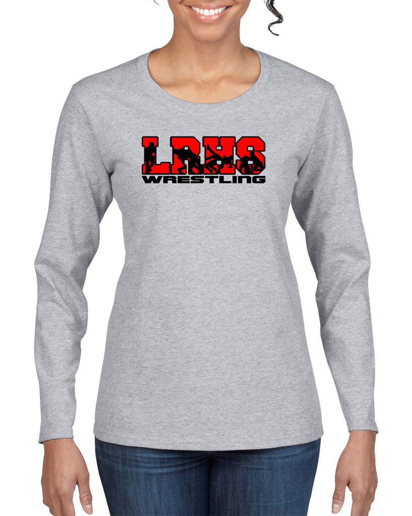 Lakeland Wrestling Sport Gray Heavy Blend Shirt w/ LRHS Wrestling V2 logo on Front.