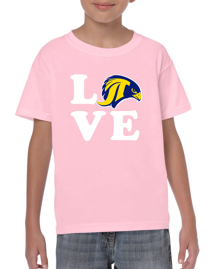 "JCPTA Heavy Cotton Pink Short Sleeve Tee w/ Large ""Love"" Logo on Front."