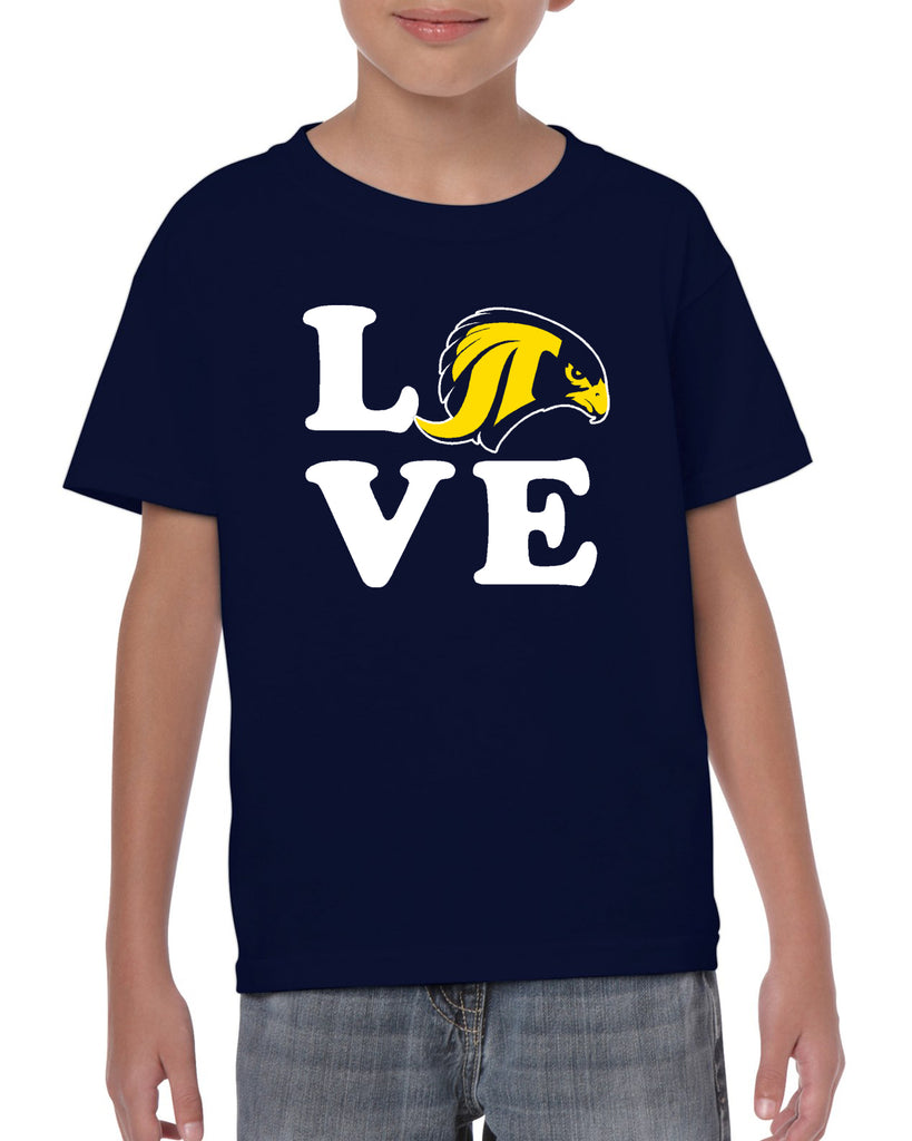 "JCPTA Heavy Cotton Navy Short Sleeve Tee w/ Large ""Love"" Logo on Front."