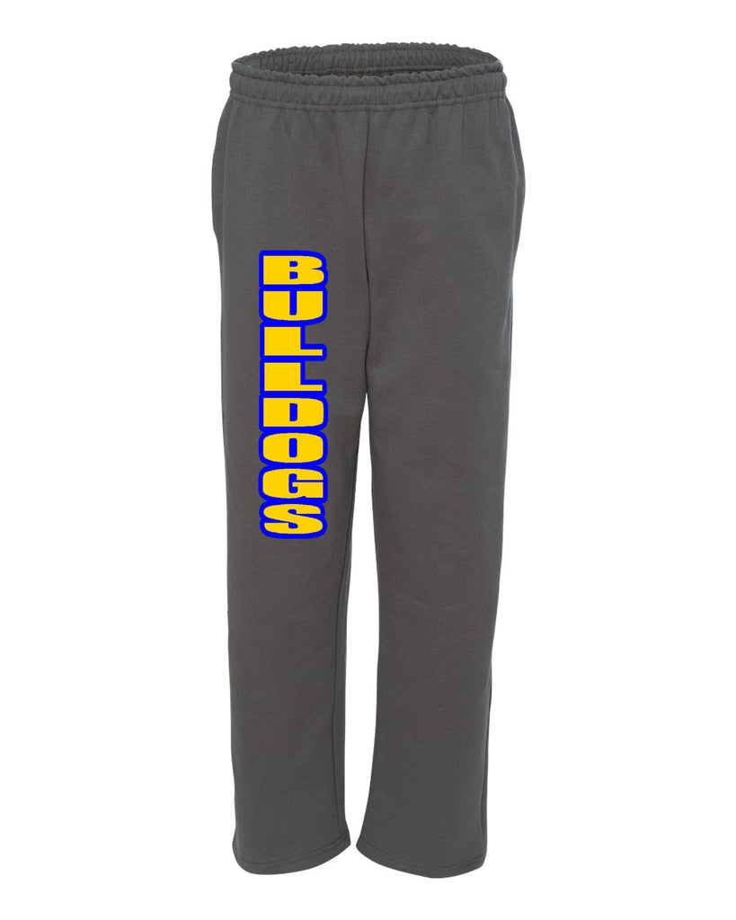 Bulldogs Charcoal Open Bottom Sweat Pants w/ 2 Color Bulldogs Design Down Right Leg.