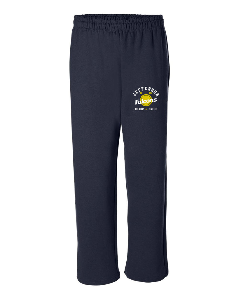 "JCPTA Open Bottom Sweat Pants w/ JCPTA ""Honor & Pride"" Logo on Front Hip."