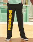 WANAQUE Open Bottom Sweat Pants w/ WANAQUE Logo Down Leg Graphic Design Pants