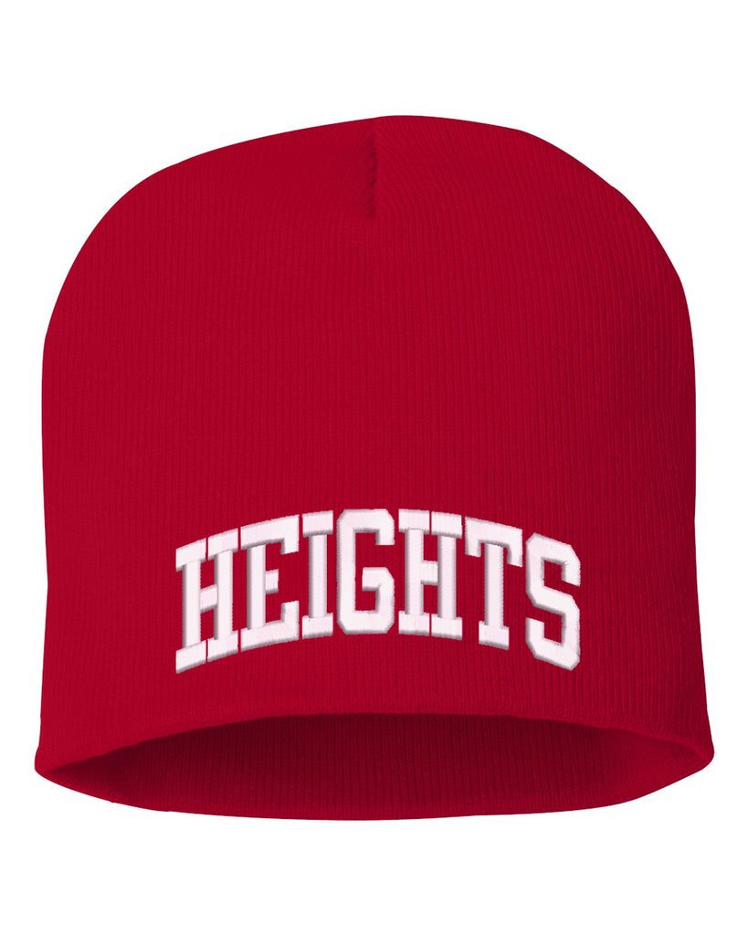 "Height Red Sportsman - 8"" Knit Beanie - SP08 w/ HEIGHTS ARC logo on Front."