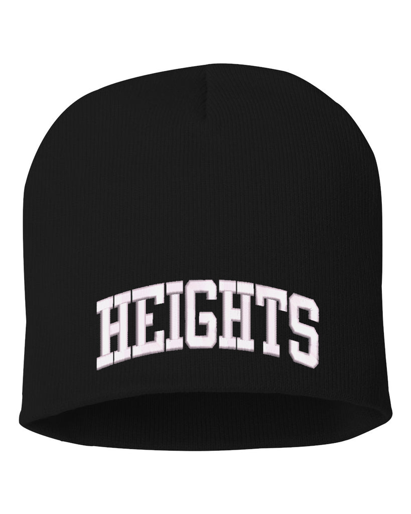 "Height Sportsman - 8"" Knit Beanie - SP08 w/ HEIGHTS ARC logo on Front."