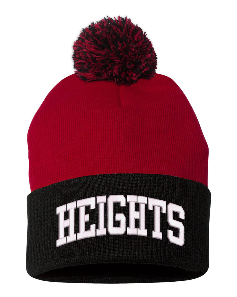 "Height Sportsman - Pom-Pom 12"" Knit Beanie - SP15 w/ HEIGHTS ARC logo on Front."