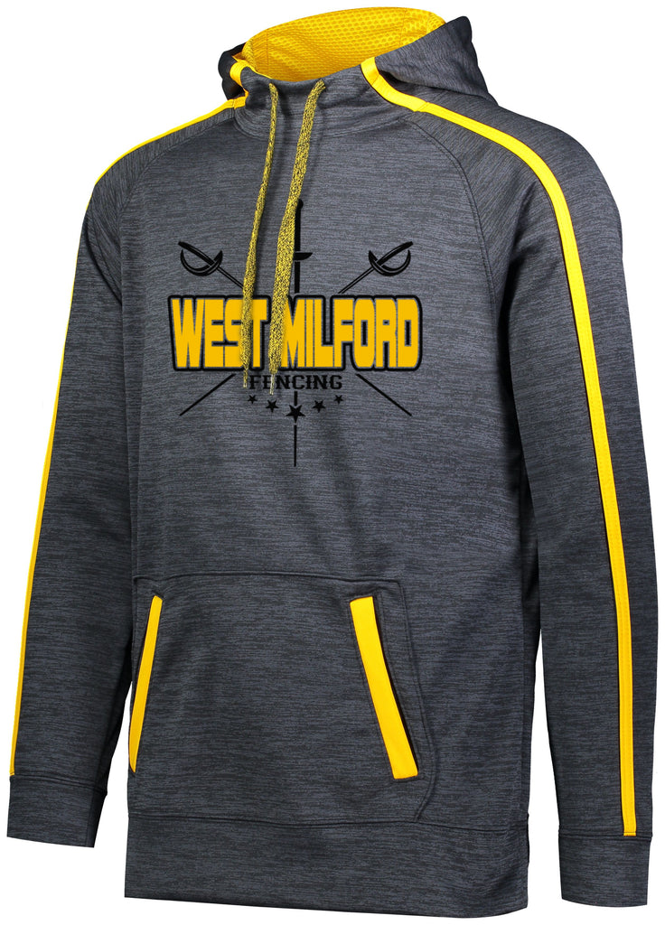 West Milford Fencing Stoked Tonal Hoodie w/ Large CROSSED SWORDS Logo on Front.