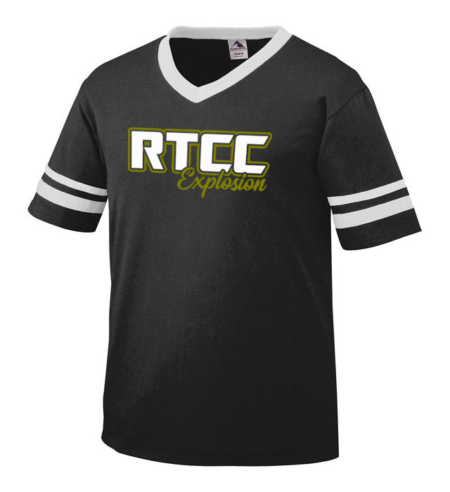 RTCC Stripe Jersey Short Sleeve Tee w/ RTCC 2 Color Logo on Front.