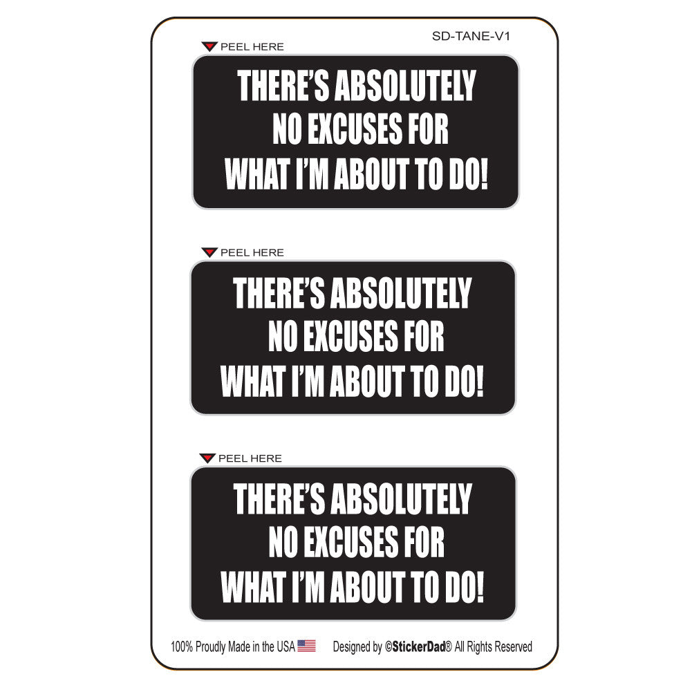 "There's Absolutely No Excuse For What I'm About To Do (3 pack) 3"" x 1.5"" Hard Hat-Helmet Full Color Printed Decal"