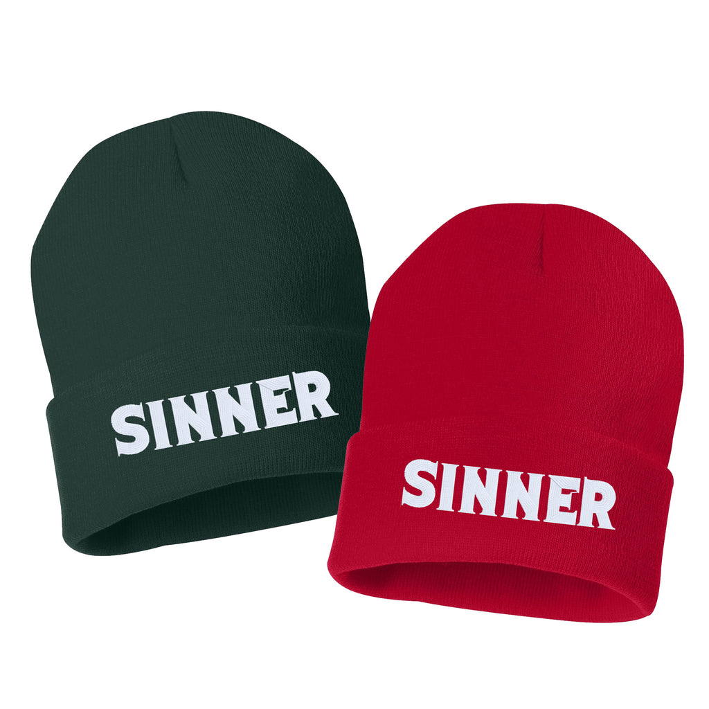 SINNER Embroidered Cuffed Beanie Hat