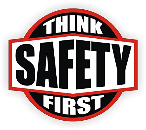 "Think Safety First V2 Red/Black/White 2"" Round Hard Hat-Helmet Full Color Printed Decal"