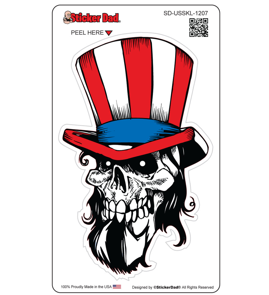UNCLE SAM SKULL 1207 Full Color 5 inch Printed Vinyl Decal Window Sticker