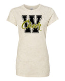 WANAQUE CHEER  Glitter Crew T-Shirt w/ W-CHEER Design on Front.