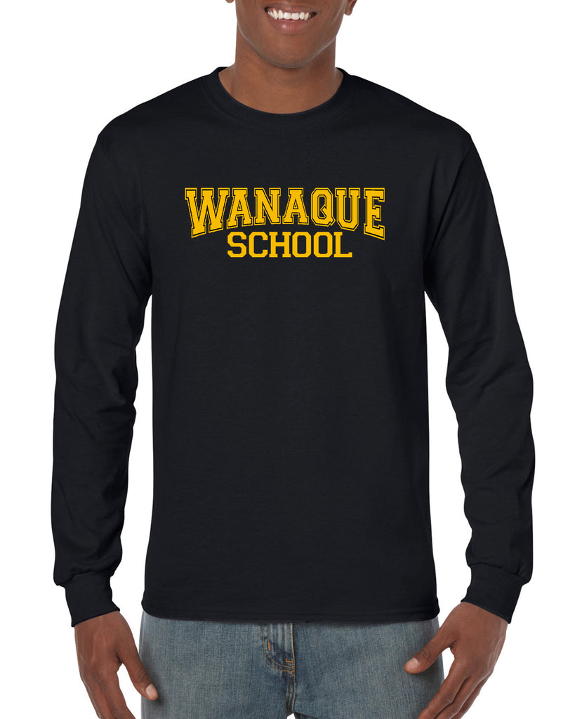 WANAQUE Heavy Cotton Black Long Sleeve Tee w/ WANAQUE School Text Logo on Front.