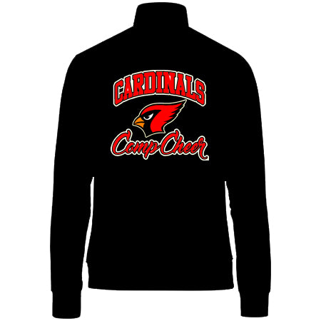 Cardinal Athletics Black & Red Medalist Jacket 2.0 w/ Cardinals Comp Cheer Design in Glitter on Back.