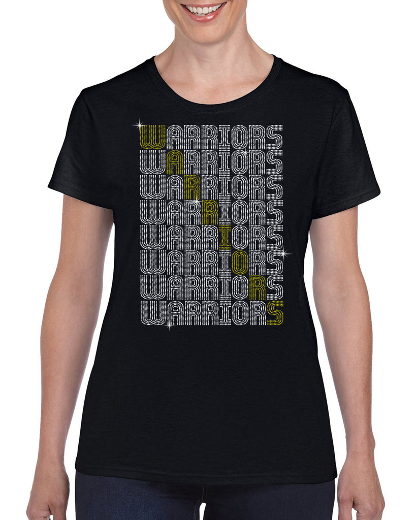 "Wanaque Cheer ""WARRIORS"" Crossword Silver/Gold Spangle Bling Design Shirt"