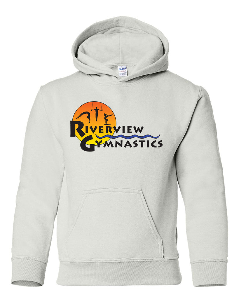Riverview Gymnastics White Hoodie w/ Full Color Sun Design on Front.