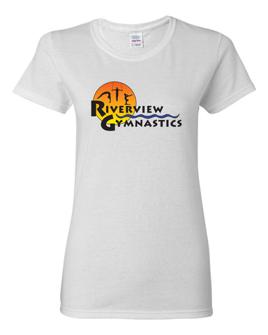 Riverview Gymnastics Jersey Raglan Crewneck Shirt w/ Full Color Sun Design on Front.