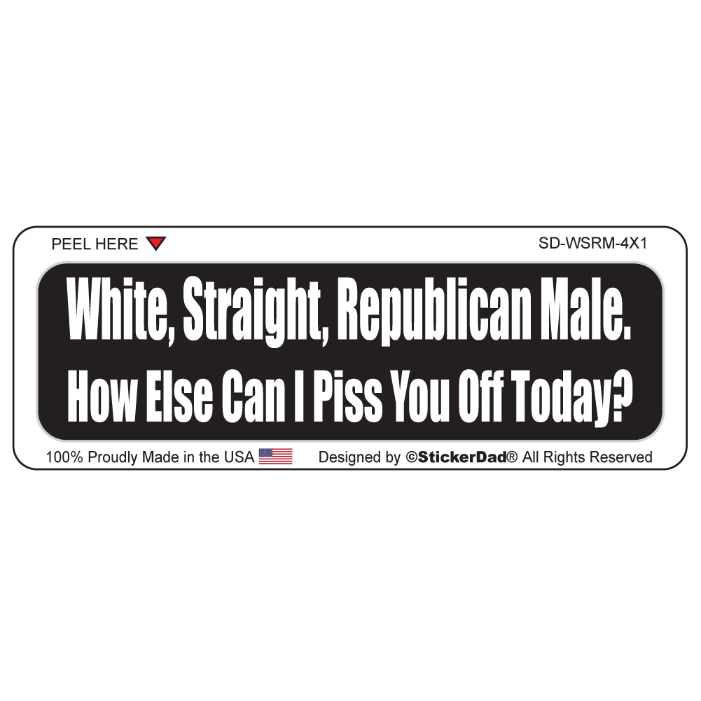 "White, Straight, Republican Male  Funny 1"" x 4"" Hard Hat-Helmet Full Color Printed Decal"