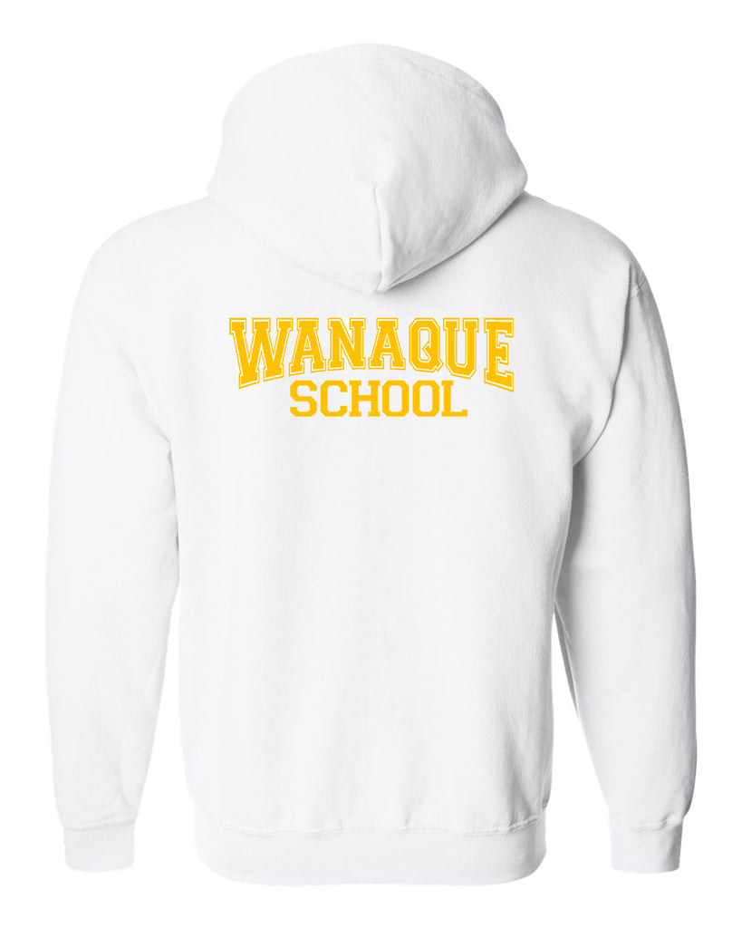 "WANAQUE White Heavy Blend FULL-ZIP Hoodie w/ Large WANAQUE School ""Text"" Logo on Back."